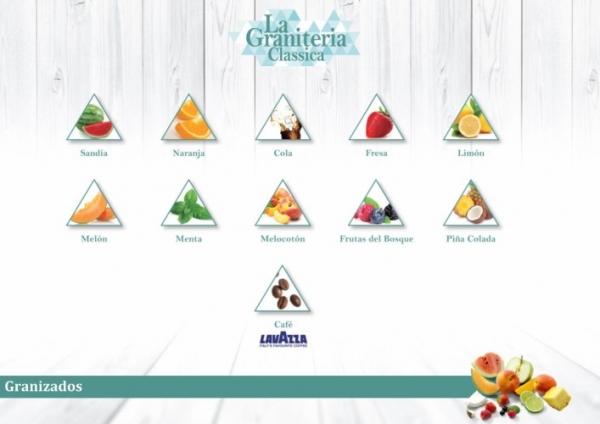 GRANIZADOS LA GRANITERÍA (Sandía, Naranja, Cola, Fresa, Limón, Melón, Menta, Melocotón, Frutas del Bosque, Piña Colada, Café)